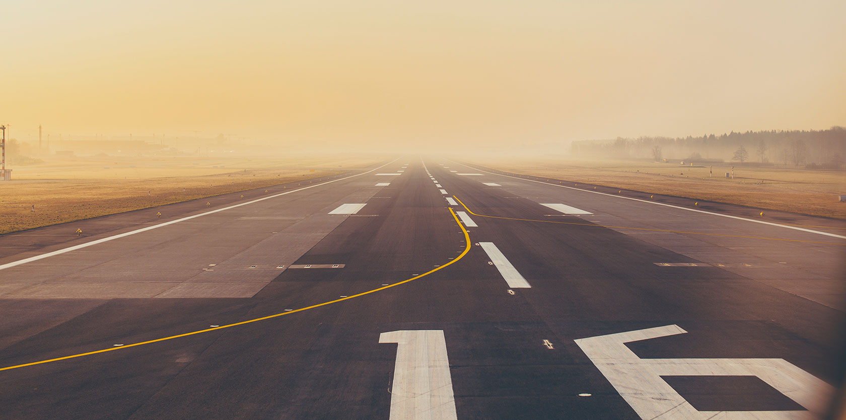 Airline Runway in Poor Visibility